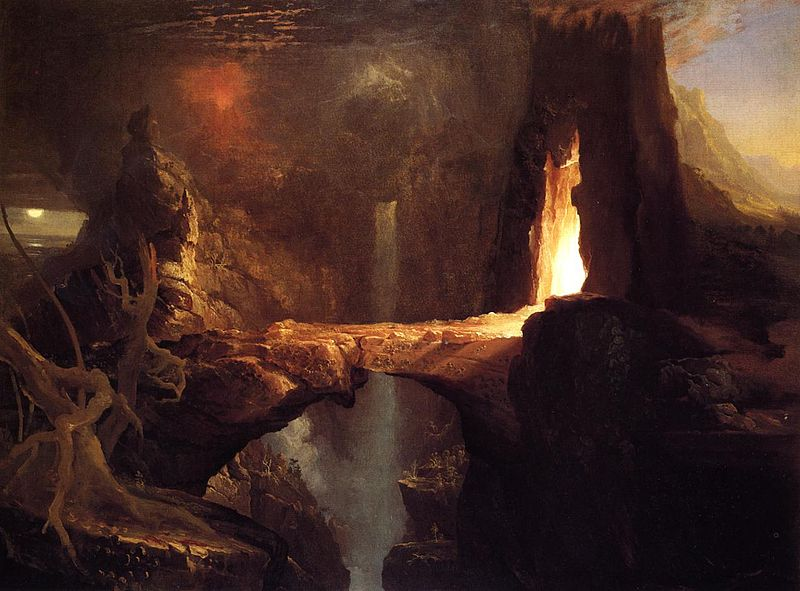 Expulsion. Moon and Firelight – Thomas Cole (1828)