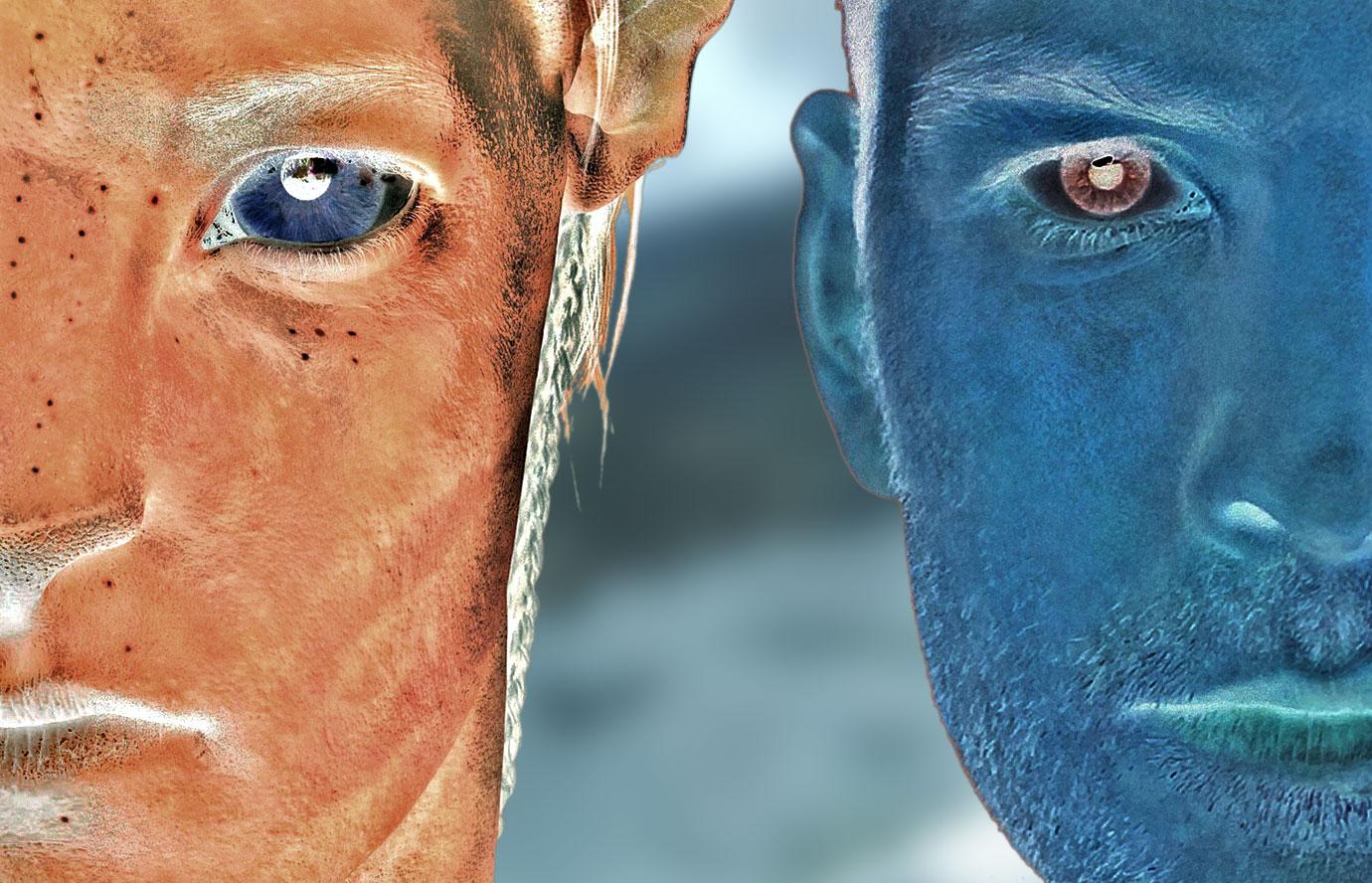 Jake et son Avatar en couleur négative