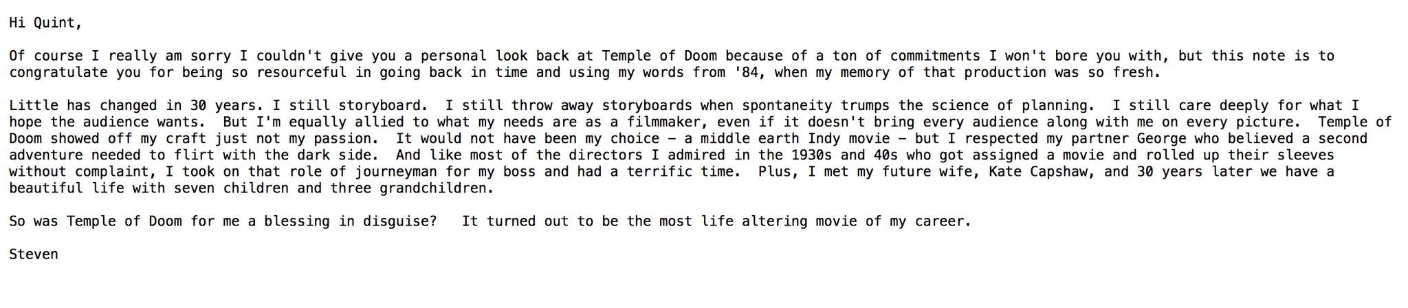 Le Mail de Steven Spielberg à Ain't it Cool News