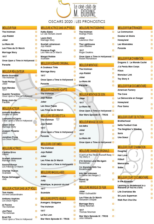 La grille de Bingo des Oscars 2020 de M.Bobine