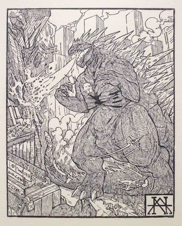Estampe de Godzilla par Nicolas Amoroso